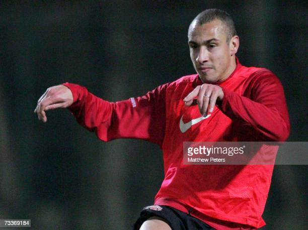 Henrik Larsson of Manchester United in action during a first team training session ahead of their UEFA Champions League match against Lille at Le...