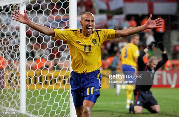 Henrik Larsson of Sweden celebrates scoring his teams second goal during the FIFA World Cup Germany 2006 Group B match between Sweden and England at...