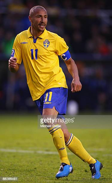 Henrik Larsson of Sweden during the FIFA2010 World Cup Qualifying Group 1 match between Sweden and Denmark at the Rasunda Stadium on June 6 2009 in...