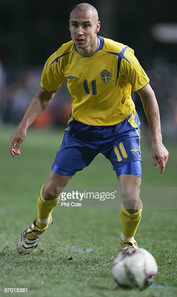 Henrik Larsson of Sweden in action during the friendly match between the Republic of Ireland and Sweden at Landsdowne Road on March 1 2006 in Dublin...