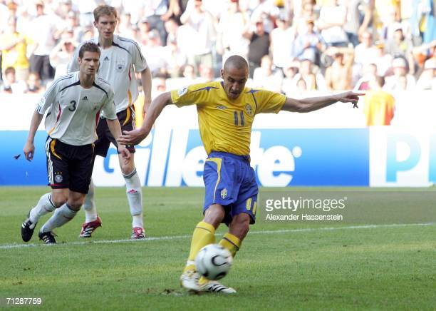 Henrik Larsson of Sweden misses a second half penalty which he put high over the cross bar during the FIFA World Cup Germany 2006 Round of 16 match...