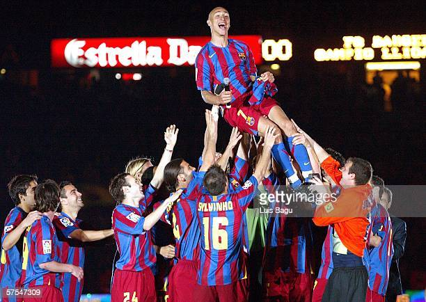 Henrik Larsson with Barcelona's players celebrating after a La Liga match between FC Barcelona and Espanyol at the Camp Nou stadium on May 6 2006...