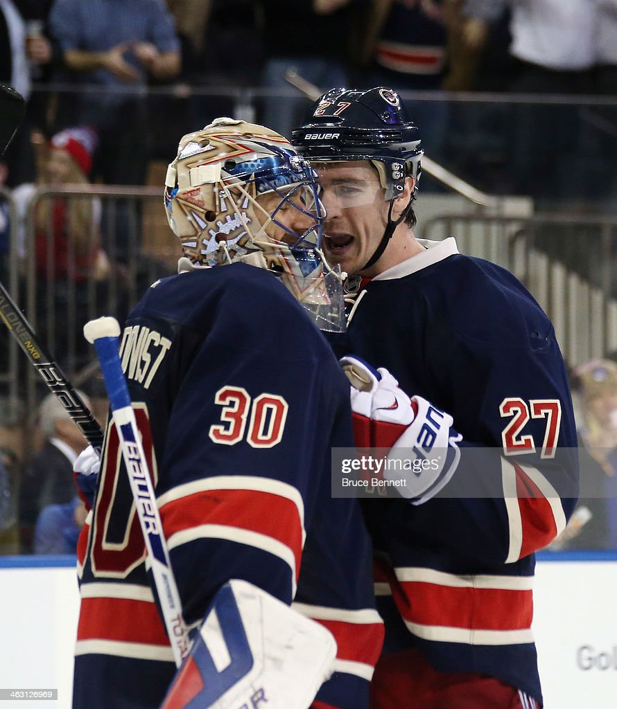 <a gi-track='captionPersonalityLinkClicked' href=/galleries/search?phrase=Henrik+Lundqvist&family=editorial&specificpeople=217958 ng-click='$event.stopPropagation()'>Henrik Lundqvist</a> #30 and <a gi-track='captionPersonalityLinkClicked' href=/galleries/search?phrase=Ryan+McDonagh&family=editorial&specificpeople=4324983 ng-click='$event.stopPropagation()'>Ryan McDonagh</a> #27 of the New York Rangers celebrate their 1-0 shutout against the Detroit Red Wings at Madison Square Garden on January 16, 2014 in New York City.
