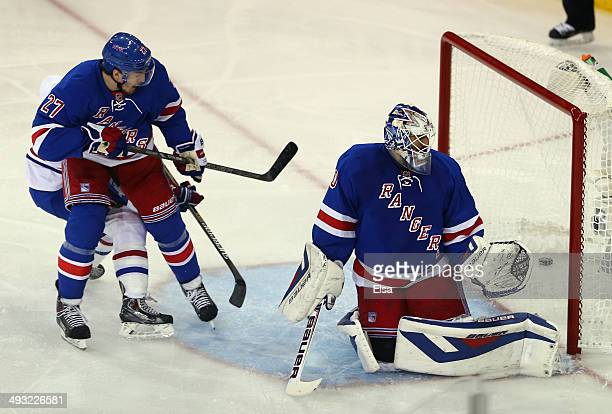 Henrik Lundqvist and Ryan McDonagh of the New York Rangers watch Andrei Markov of the Montreal Canadiens second period goal into the back of the net...