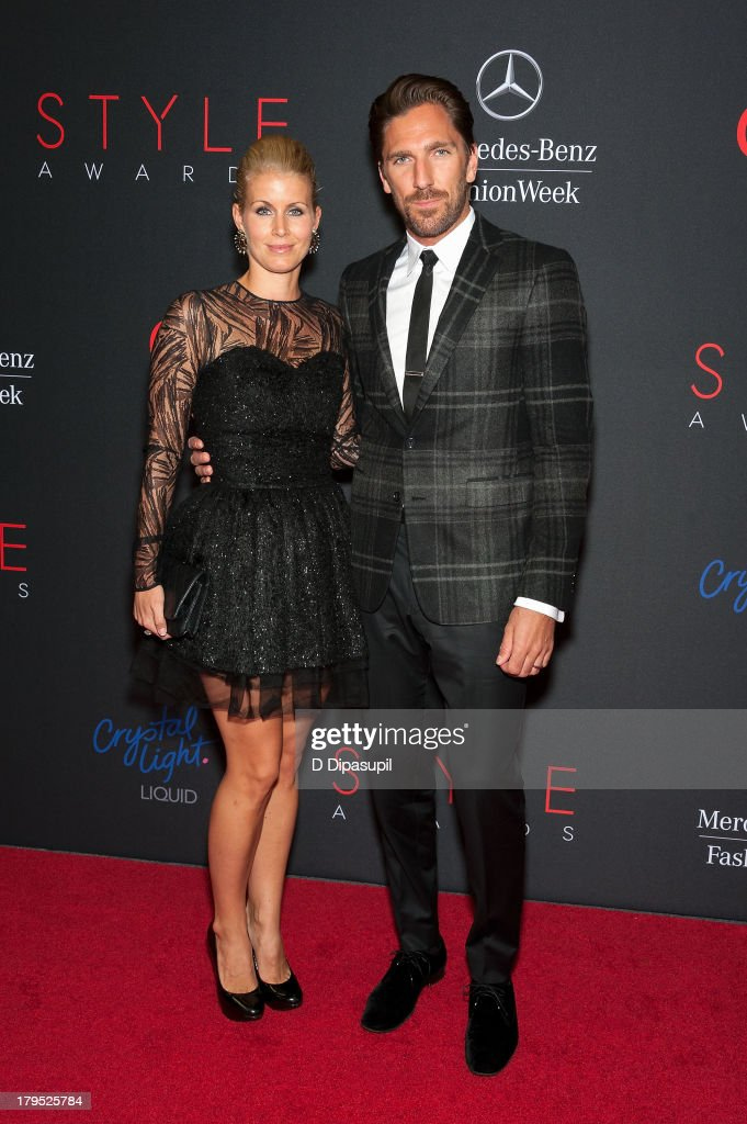 Henrik Lundqvist (R) and wife Therese Lundqvist attend the 2013 Style Awards at Lincoln Center on September 4, 2013 in New York City.