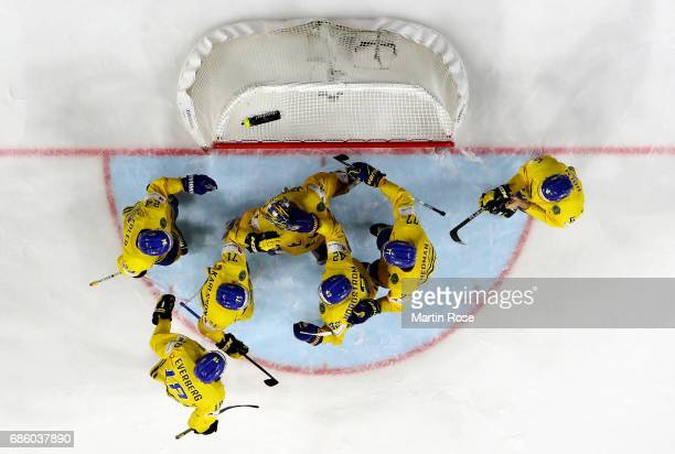 Henrik Lundqvist goaltender of Sweden celebrate victory over Finland with his team mates after the 2017 IIHF Ice Hockey World Championship semi final...