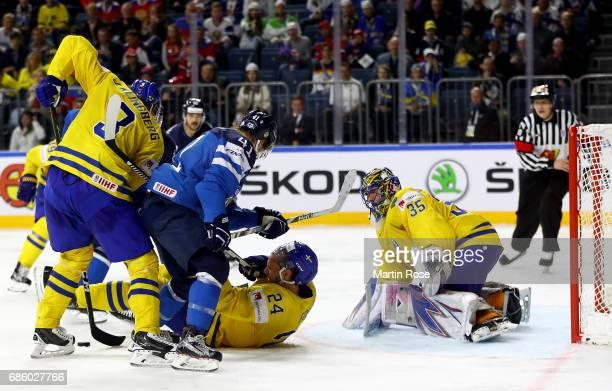 Henrik Lundqvist goaltender of Sweden tends net against Finland during the 2017 IIHF Ice Hockey World Championship semi final game between Sweden and...