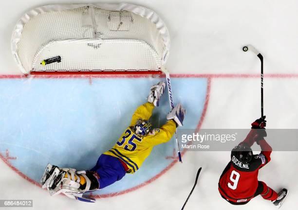 Henrik Lundqvist goaltender of Sweden tends net against Matt Duchene of Canada the 2017 IIHF Ice Hockey World Championship Gold Medal game Canada and...