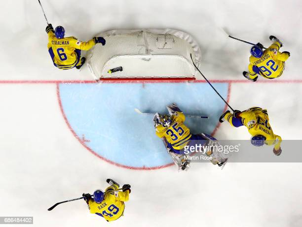 Henrik Lundqvist goaltender of Sweden tends net against Sweden during the 2017 IIHF Ice Hockey World Championship Gold Medal game Canada and Sweden...