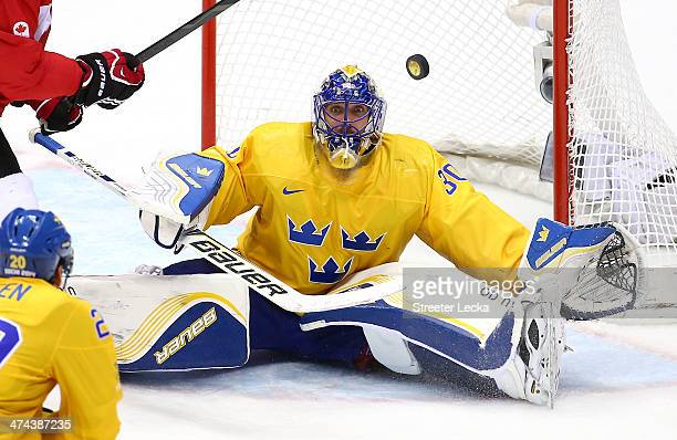 Henrik Lundqvist of Sweden makes a save during the Men's Ice Hockey Gold Medal match against Canada on Day 16 of the 2014 Sochi Winter Olympics at...