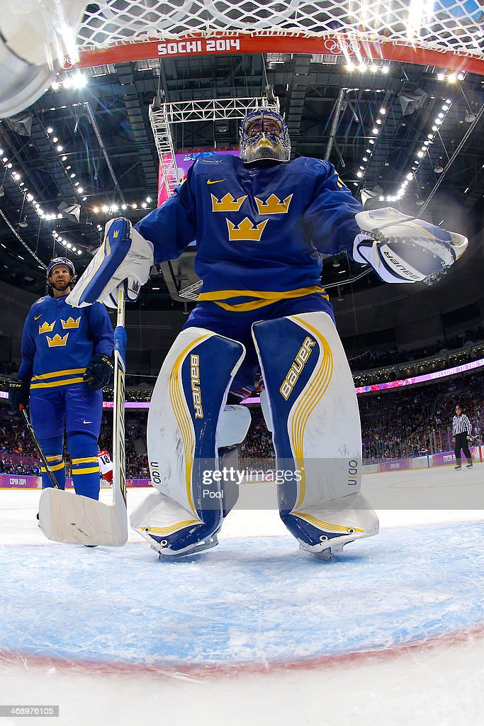 <a gi-track='captionPersonalityLinkClicked' href=/galleries/search?phrase=Henrik+Lundqvist&family=editorial&specificpeople=217958 ng-click='$event.stopPropagation()'>Henrik Lundqvist</a> #30 of Sweden reacts after a goal to Jaromir Jagr #68 of Czech Republic in the second period against during the Men's Ice Hockey Preliminary Round Group C game on day five of the Sochi 2014 Winter Olympics at Bolshoy Ice Dome on February 12, 2014 in Sochi, Russia.