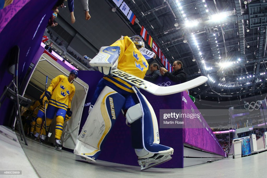 Henrik Lundqvist #30 of Sweden walks to the ice before the Men's Ice Hockey Preliminary Round Group C game against Switzerland on day seven of the Sochi 2014 Winter Olympics at Bolshoy Ice Dome on February 14, 2014 in Sochi, Russia.