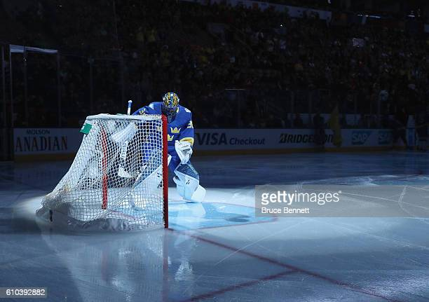 Henrik Lundqvist of Team Sweden prepares to tends net against Team Europe at the semifinal game during the World Cup of Hockey tournament at the Air...