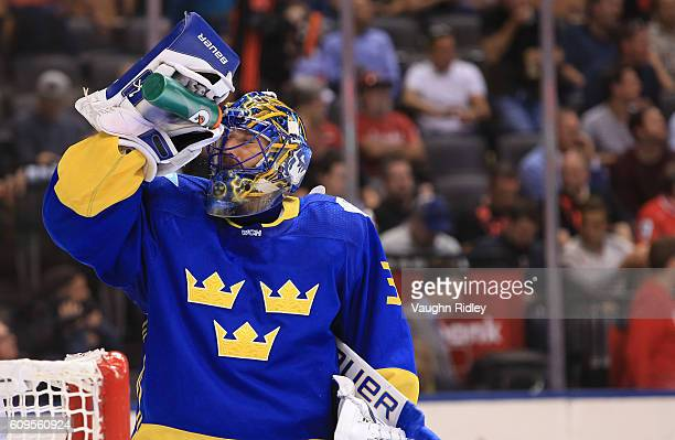 Henrik Lundqvist of Team Sweden takes a break between whistles against Team North America during the World Cup of Hockey 2016 at Air Canada Centre on...