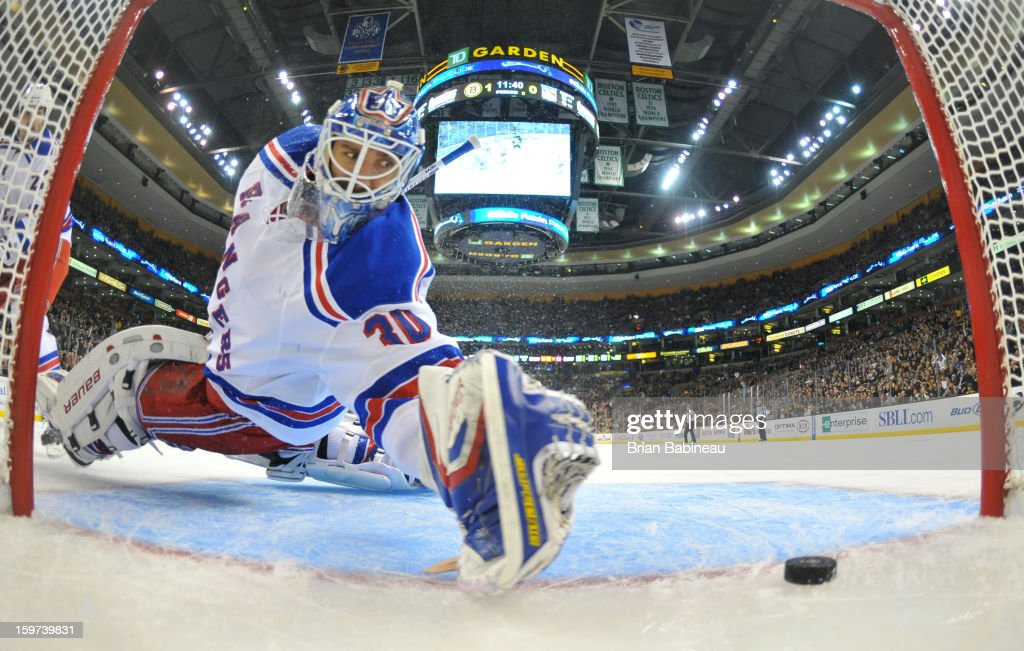 <a gi-track='captionPersonalityLinkClicked' href=/galleries/search?phrase=Henrik+Lundqvist&family=editorial&specificpeople=217958 ng-click='$event.stopPropagation()'>Henrik Lundqvist</a> #30 of the Boston Bruins lets in a goal against the New York Rangers at the TD Garden on January 19, 2013 in Boston, Massachusetts.