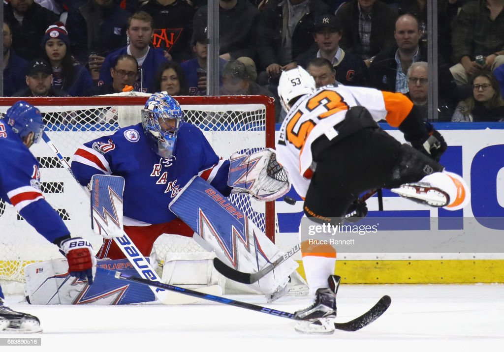 Henrik Lundqvist #30 of the New York Rangers braces for a second period shot from Shayne Gostisbehere #53 of the Philadelphia Flyers at Madison Square Garden on April 2, 2017 in New York City.