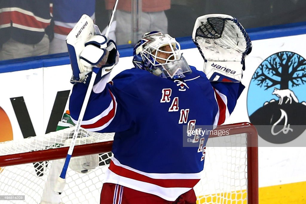 Henrik Lundqvist of the New York Rangers celebrates after defeating the Montreal Canadiens in Game Six of the Eastern Conference Final in the 2014...