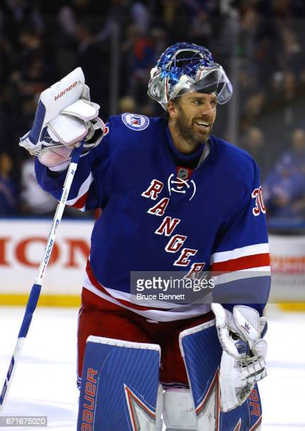 Henrik Lundqvist of the New York Rangers celebrates defeating the Montreal Canadiens in Game Six of the Eastern Conference to win the First Round...