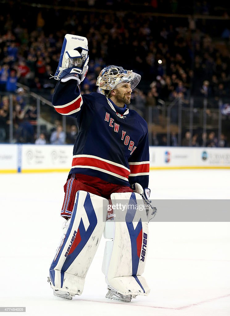 Henrik Lundqvist of the New York Rangers celebrates his shut out after the game against the Detroit Red Wings at Madison Square Garden on March 9...