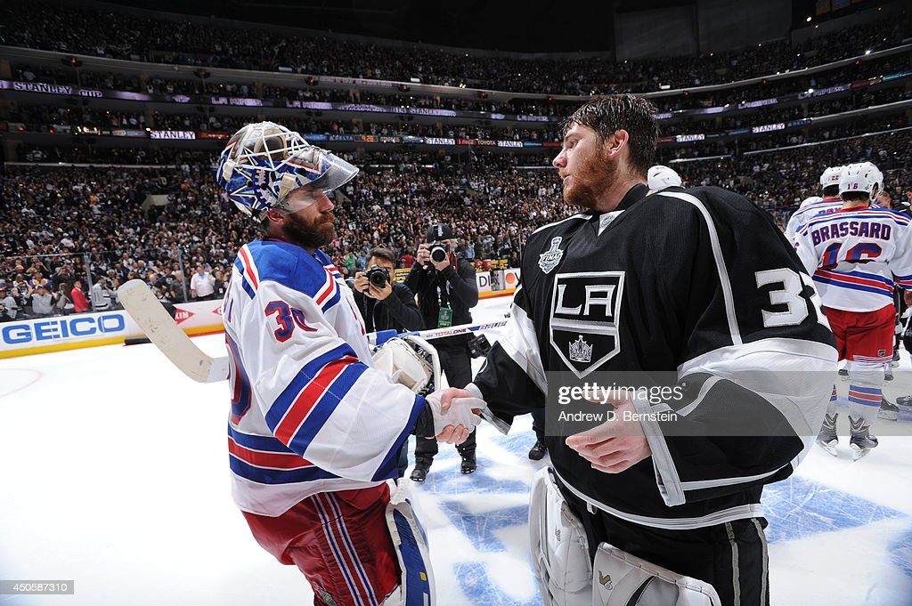 Henrik Lundqvist #30 of the New York Rangers congratulates Jonathan Quick #32 of the Los Angeles Kings after Game Five of the 2014 NHL Stanley Cup Final at Staples Center on June 13, 2014 in Los Angeles, California.