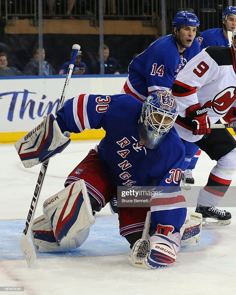 Henrik Lundqvist #30 of the New York Rangers defends the net against the New Jersey Devils at Madison Square Garden on April 27, 2013 in New York City.The Rangers shutout the Devils 4-0.
