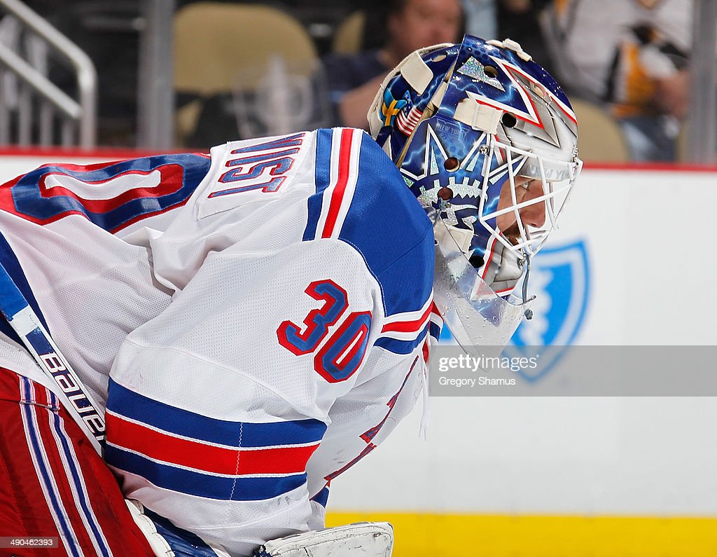 <a gi-track='captionPersonalityLinkClicked' href=/galleries/search?phrase=Henrik+Lundqvist&family=editorial&specificpeople=217958 ng-click='$event.stopPropagation()'>Henrik Lundqvist</a> #30 of the New York Rangers defends the net against the Pittsburgh Penguins in Game Five of the Second Round of the 2014 Stanley Cup Playoffs at Consol Energy Center on May 9, 2014 in Pittsburgh, Pennsylvania.