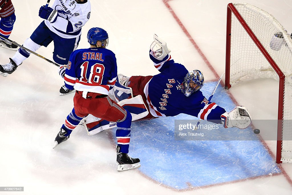 Henrik Lundqvist #30 of the New York Rangers gives up a goal to Alex Killorn #17 of the Tampa Bay Lightning in the third period during Game Two of the Eastern Conference Finals during the 2015 NHL Stanley Cup Playoffs at Madison Square Garden on May 18, 2015 in New York City.