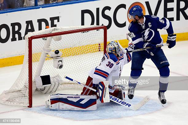 Henrik Lundqvist of the New York Rangers gives up a goal to Alex Killorn of the Tampa Bay Lightning in the second period during Game Three of the...