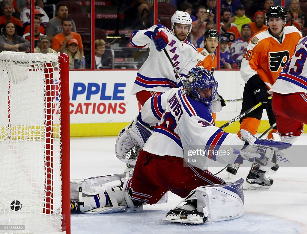 Henrik Lundqvist #30 of the New York Rangers is unable to stop a shot in the second period against Philadelphia Flyers during a preseason game on October 3, 2016 at Wells Fargo Center in Philadelphia, Pennsylvania.