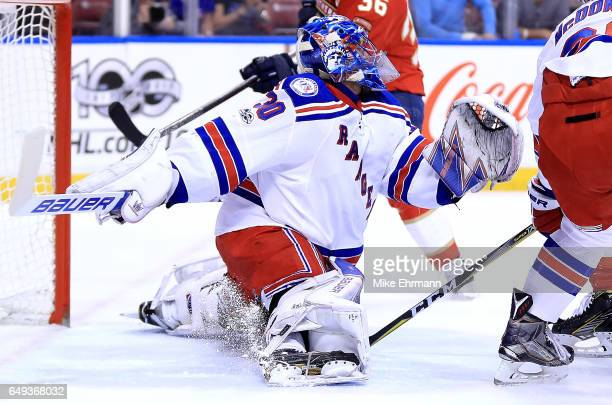 Henrik Lundqvist of the New York Rangers lmakes a save during a game against the Florida Panthers at BBT Center on March 7 2017 in Sunrise Florida