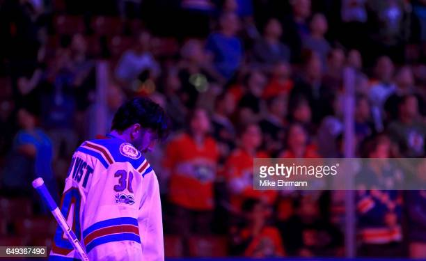 Henrik Lundqvist of the New York Rangers looks on during a game against the Florida Panthers at BBT Center on March 7 2017 in Sunrise Florida
