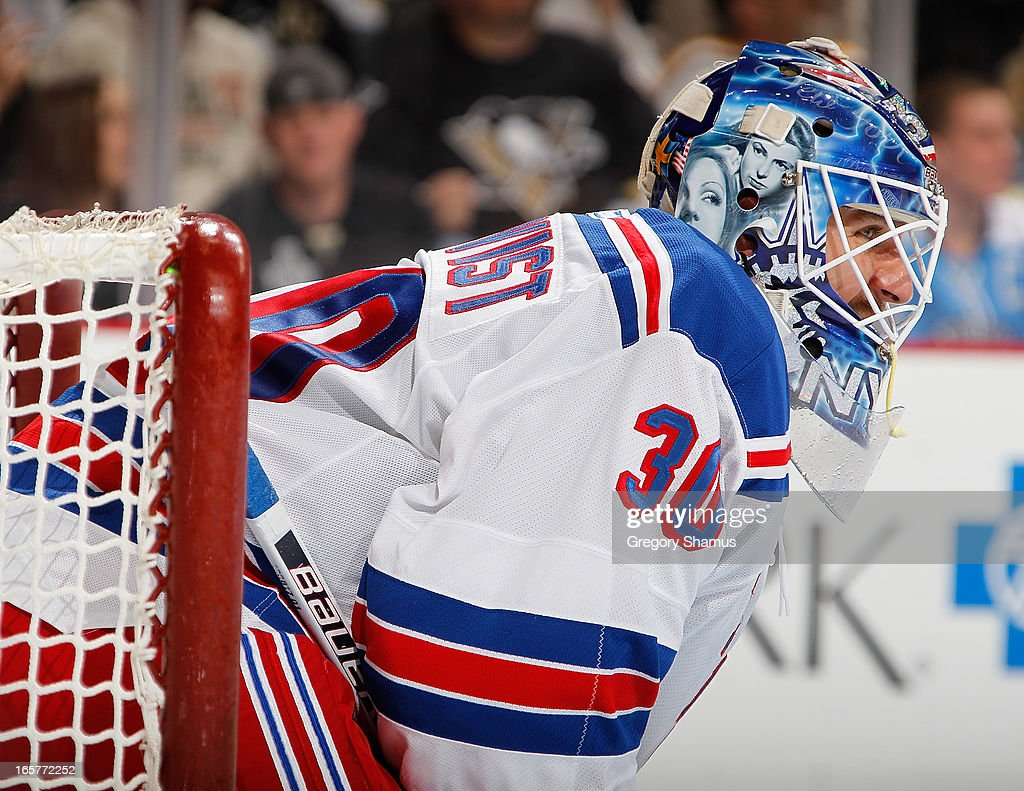 <a gi-track='captionPersonalityLinkClicked' href=/galleries/search?phrase=Henrik+Lundqvist&family=editorial&specificpeople=217958 ng-click='$event.stopPropagation()'>Henrik Lundqvist</a> #30 of the New York Rangers looks on during his 500th career NHL game against the Pittsburgh Penguins on April 5, 2013 at Consol Energy Center in Pittsburgh, Pennsylvania.