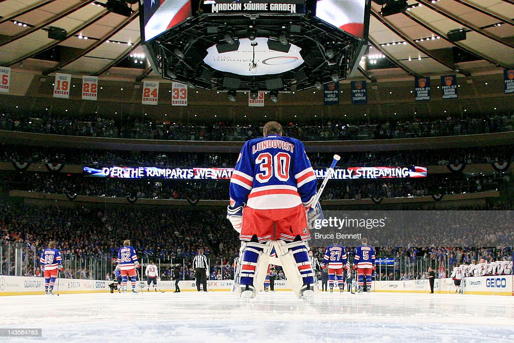 <a gi-track='captionPersonalityLinkClicked' href=/galleries/search?phrase=Henrik+Lundqvist&family=editorial&specificpeople=217958 ng-click='$event.stopPropagation()'>Henrik Lundqvist</a> #30 of the New York Rangers looks on during pre-game ceremonies prior to the start of Game One of the Eastern Conference Semifinals between the New York Rangers and the Washington Capitals during the 2012 NHL Stanley Cup Playoffs at Madison Square Garden on April 28, 2012 in New York City.