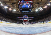 Henrik Lundqvist of the New York Rangers looks on prior to the start of the game against the Montreal Canadiens during Game Six of the Eastern...