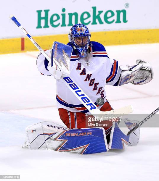 Henrik Lundqvist of the New York Rangers makes a save during a game against the Florida Panthers at BBT Center on March 7 2017 in Sunrise Florida