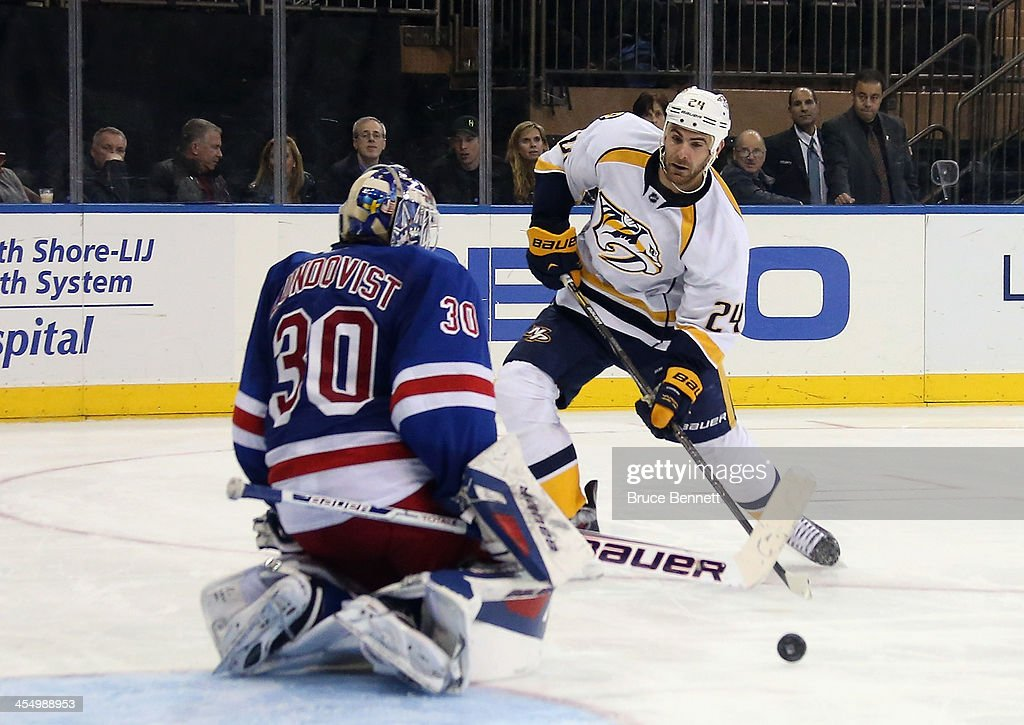 <a gi-track='captionPersonalityLinkClicked' href=/galleries/search?phrase=Henrik+Lundqvist&family=editorial&specificpeople=217958 ng-click='$event.stopPropagation()'>Henrik Lundqvist</a> #30 of the New York Rangers makes a third period save on <a gi-track='captionPersonalityLinkClicked' href=/galleries/search?phrase=Eric+Nystrom&family=editorial&specificpeople=2209813 ng-click='$event.stopPropagation()'>Eric Nystrom</a> #24 of the Nashville Predators at Madison Square Garden on December 10, 2013 in New York City. The Predators defeated the Rangers 4-1.
