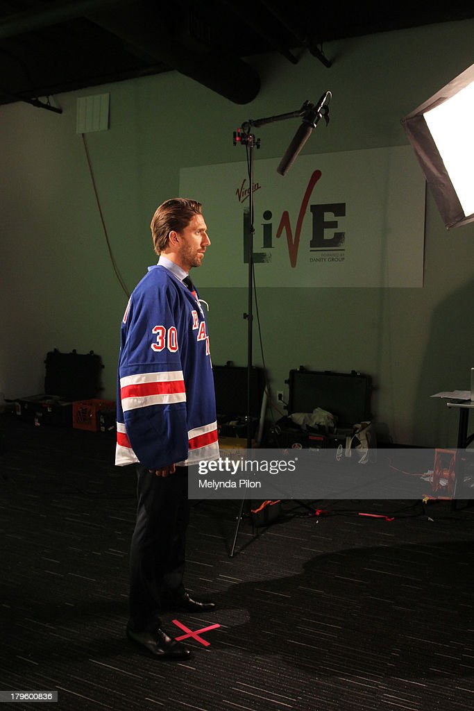 Henrik Lundqvist of the New York Rangers prepares for a NHL Studios production shoot at the 2013 NHL Player Media Tour at the Prudential Center on September 5, 2013 in Newark, New Jersey.