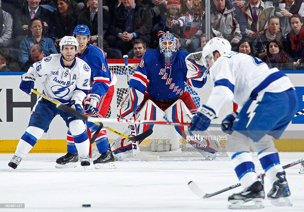<a gi-track='captionPersonalityLinkClicked' href=/galleries/search?phrase=Henrik+Lundqvist&family=editorial&specificpeople=217958 ng-click='$event.stopPropagation()'>Henrik Lundqvist</a> #30 of the New York Rangers protects the net against the Tampa Bay Lightning at Madison Square Garden on February 28, 2013 in New York City. The Rangers defeat the Lightning 4-1.