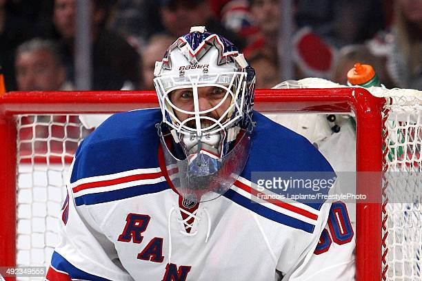 Henrik Lundqvist of the New York Rangers reacts after a play against the Montreal Canadiens during the second period in Game Two of the Eastern...