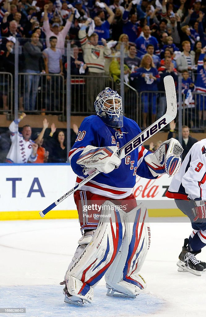 Henrik Lundqvist #30 of the New York Rangers reacts at the end of the game against the Washington Capitals in Game Six of the Eastern Conference Quarterfinals during the 2013 NHL Stanley Cup Playoffs at Madison Square Garden on May 12, 2013 in New York City. Rangers won 1-0.