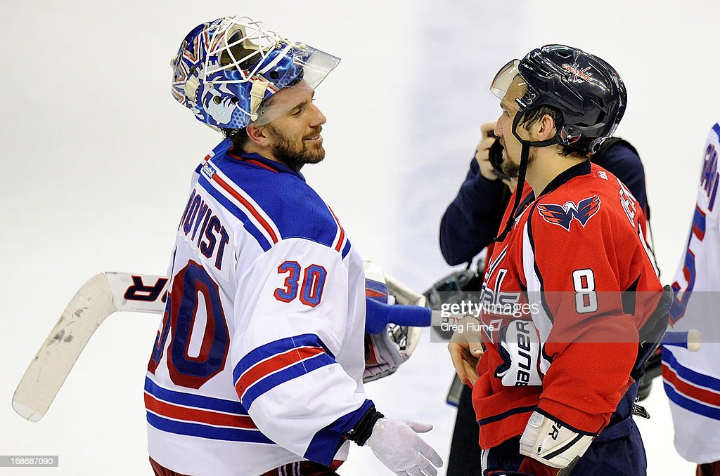 <a gi-track='captionPersonalityLinkClicked' href=/galleries/search?phrase=Henrik+Lundqvist&family=editorial&specificpeople=217958 ng-click='$event.stopPropagation()'>Henrik Lundqvist</a> #30 of the New York Rangers shakes hands with Alex Ovechkin #8 of the Washington Capitals after a 5-0 victory in Game Seven of the Eastern Conference Quarterfinals during the 2013 NHL Stanley Cup Playoffs at the Verizon Center on May 13, 2013 in Washington, DC.