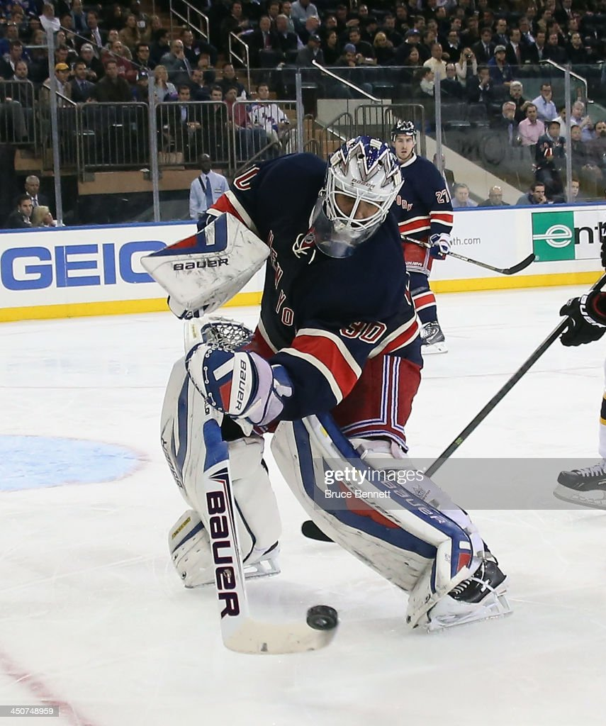 <a gi-track='captionPersonalityLinkClicked' href=/galleries/search?phrase=Henrik+Lundqvist&family=editorial&specificpeople=217958 ng-click='$event.stopPropagation()'>Henrik Lundqvist</a> #30 of the New York Rangers skates against the Boston Bruins at Madison Square Garden on November 19, 2013 in New York City. The Bruins defeated the Rangers 2-1.