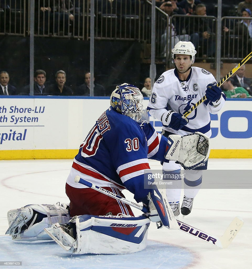 <a gi-track='captionPersonalityLinkClicked' href=/galleries/search?phrase=Henrik+Lundqvist&family=editorial&specificpeople=217958 ng-click='$event.stopPropagation()'>Henrik Lundqvist</a> #30 of the New York Rangers skates against the Tampa Bay Lightning at Madison Square Garden on January 14, 2014 in New York City. The Lightning defeated the Rangers 2-1.