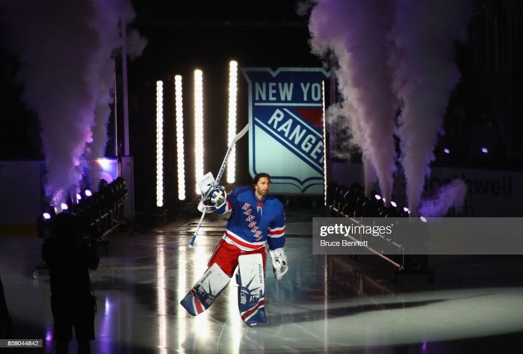 Henrik Lundqvist #30 of the New York Rangers skates out prior to the game against the Colorado Avalanche at Madison Square Garden on October 5, 2017 in New York City.