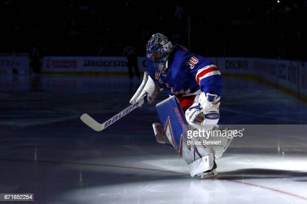 Henrik Lundqvist of the New York Rangers skates to the net prior to Game Six against the Montreal Canadiens in the Eastern Conference First Round...