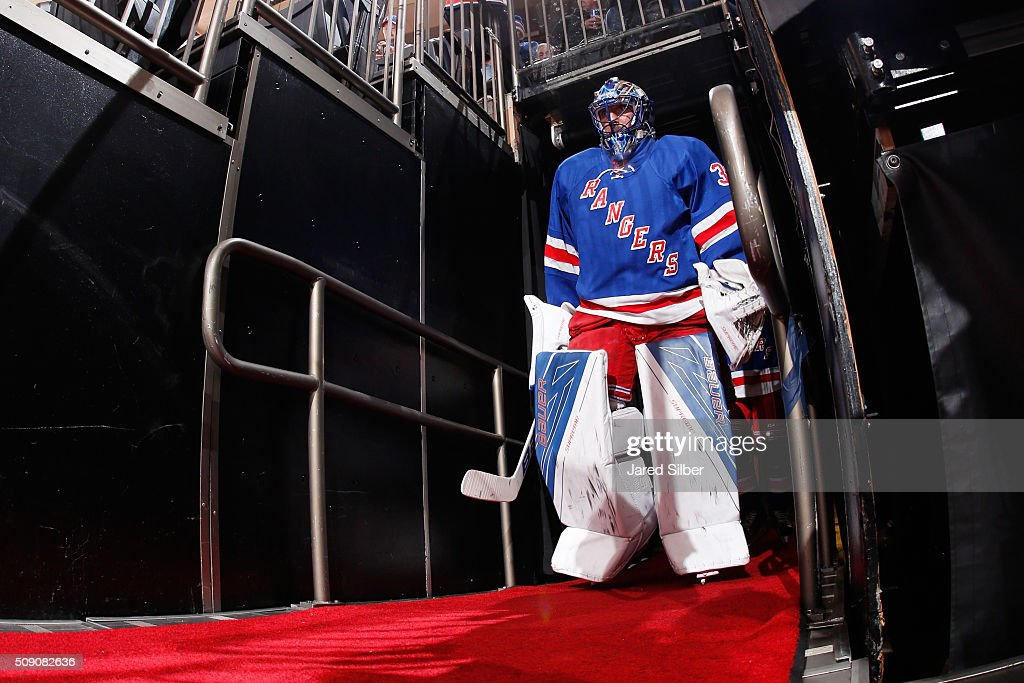 <a gi-track='captionPersonalityLinkClicked' href=/galleries/search?phrase=Henrik+Lundqvist&family=editorial&specificpeople=217958 ng-click='$event.stopPropagation()'>Henrik Lundqvist</a> #30 of the New York Rangers takes the ice for pregame warmups before the game against the New Jersey Devils at Madison Square Garden on February 8, 2016 in New York City.