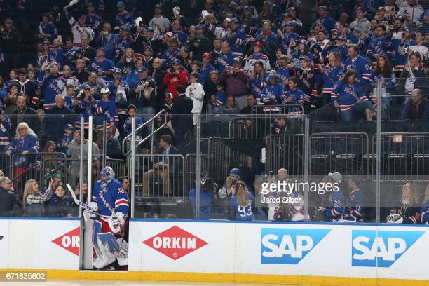 Henrik Lundqvist of the New York Rangers takes the ice for warmups before the game against the Montreal Canadiens in Game Six of the Eastern...