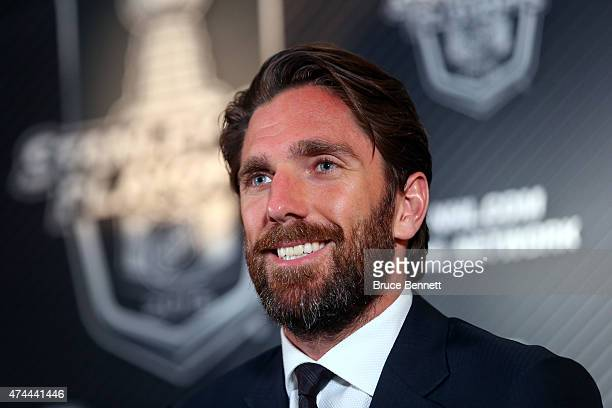 Henrik Lundqvist of the New York Rangers talks to the media after defeating the Tampa Bay Lightning 5 to 1 in Game Four of the Eastern Conference...