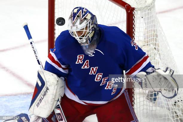 Henrik Lundqvist of the New York Rangers tends goal against the Montreal Canadiens during Game Six of the Eastern Conference Final in the 2014 NHL...