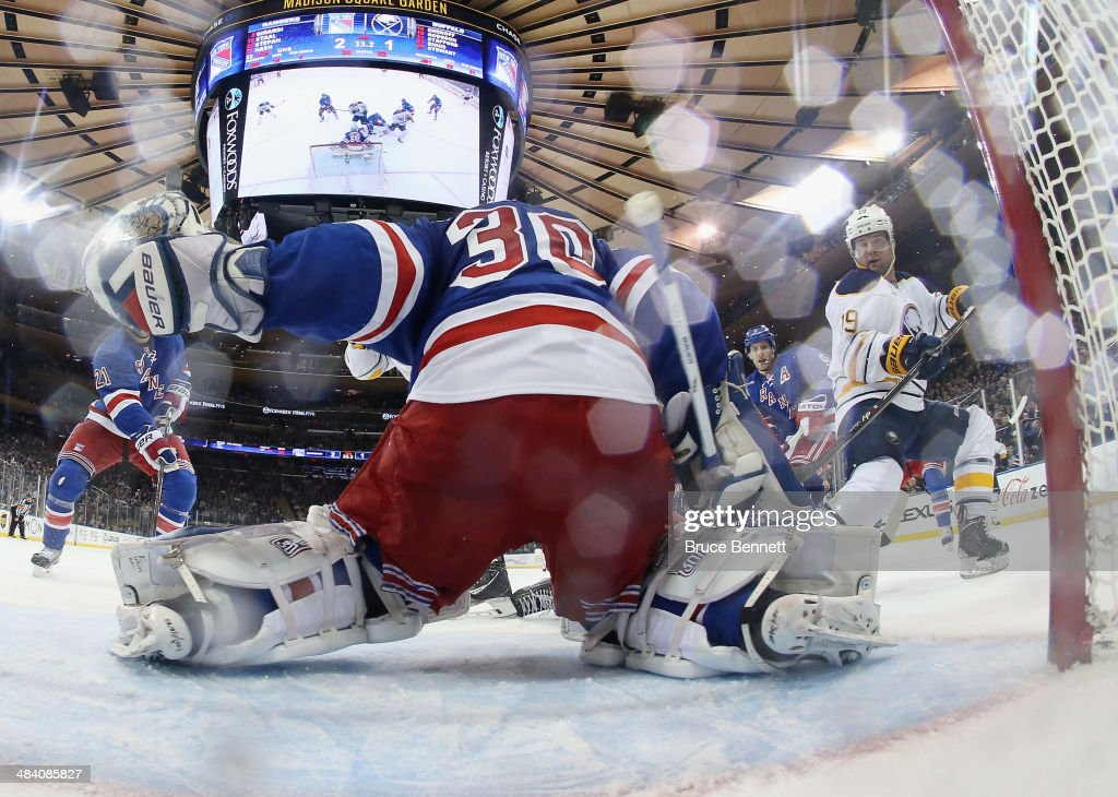 Henrik Lundqvist #30 of the New York Rangers tends net against the Buffalo Sabres at Madison Square Garden on April 10, 2014 in New York City. The Rangers defeated the Sabres 2-1.